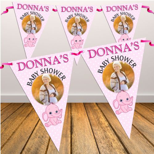 Personalised Pink Girl Baby Shower Flag PHOTO Bunting Banner - N32
